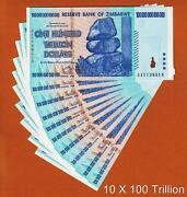 Zimbabwe 10 Pieces 100 Trillion Dollars Aa- 2008 Pick-91 Unc Ship From Canada