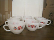 8 Fire King Floral Design Cups -- Usa