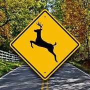 Deer Crossing Sign - Aluminum Highway Style Plaque - Hunting Cabin Decor - Road