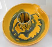"""Art Pottery Candle Holder Plate Hand Made Painted 9"""" Round 3"""" Tall Yellow  DG"""