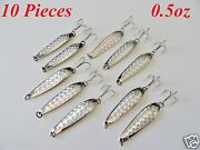 10 Pieces 1/2oz Casting Crocodile Spoons Chrome/silver Trolling Fishing Lures