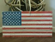 Hand Crafted Rustic Reclaimed Wooden American Flag Wall Hanging