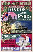 London And Paris Vintage Railroad Train Travel Poster Canvas Giclee 24x36 Inches
