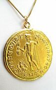 Old Style Coin Greek Jupiter Roman Gold Round Charm Necklace Pendant Antique 14