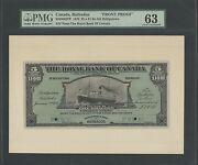 Canada, Barbados Front Proof 1920 5 = £1-0s-10d Pmg 63 Choice Unc Wlm1337