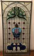 Antique American Stained Glass Multi-colored Window Panel 44x 23.5