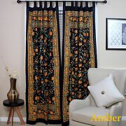 Handmade French Floral Tab Top Curtain 100 Cotton Drape Door Panel Black Amber