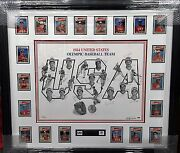 1984 Usa Olympic Baseball Team Signed Paluso Lithograph W/framed Topps Cards Psa