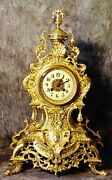 Very Large Gorgeous Empire French Antique Japy Freres Gilt Bronze Clock H 22
