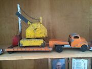 Antique Vintage Tin Steel Flat Bed Truck Trailer With Excavator Toy Very Old