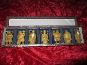 Antique Chinese/japanese Set Of Seven Statues Of Gods Signed