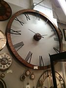 Restoration 60 Rustic Copper Sheeting Round Roman Wall Clock Hardware Style