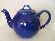Well Crafted Vintage Tea Pot Usa - Deep Blue In Color 7-1/2 Tall