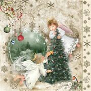 Christmas Napkins Vintage Angels With Christmas Tree Paper Lunch Napkins 20pcs