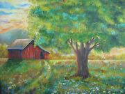 Red Barn And Farm -original Oil Painting Artz-d,36 X 36 On Canvas 1995-signed
