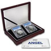 2016 Pcgs Pr70 Fs Isle Of Man Proof And Reverse Silver Angel 2-coin Set - Only 500