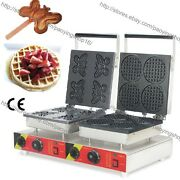 Commercial Nonstick Electric Butterfly Waffle Baker Mini Round Waffle Maker Iron