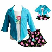Dollie Me Girl 4-14 And Doll Matching Floral Skirt Mock Top Outfit American Girl
