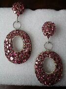 Pink Tourmaline And White Sapphire Large Drop/dangle Earrings Sterling Silver