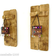 2x Rustic Pallet Wood Sconce's Led Tea Light Candle Holders And Jeweled Lanterns