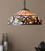 Style Hanging Ceiling Lamp Fixture Cut Stained Glass Shade 12 H X 18 D