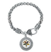 Oes Silver Tone Chain Link Bracelet With Order Of The Eastern Star Jewelry
