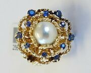 14k Solid Yellow Gold Blue Sapphire And Cultured Pearl Ring Hand Made Size 5