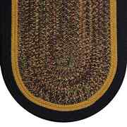 Black And Gold Tweed Braided Country Area Rugs By Colonial Rug-many Sizes 478ob