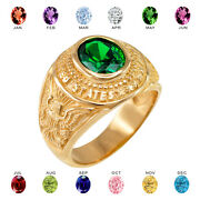 Solid 10k Yellow Gold Us Army Menand039s Cz Birthstone Ring
