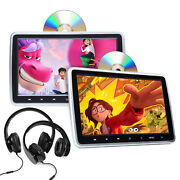 Us Pair Hdmi 10 Lcd Car Headrest Active Monitor Dvd/usb Player Game Headsets W