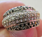 Black And White Diamond Ring Pave Dome Style 14k White Gold Size 5.5 Make Offer