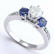 18k White Gold .70ct Sapphire .80ct. Diamond Engagement Ring Sizes 4 To 9.5 R653