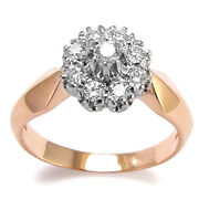 Womenand039s Russian Ussr Vintage Style Genuine Diamond Ring 585 Rose And White Gold