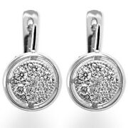 Russian Jewelry 14k Solid White Gold G-si1 .80 Cwt Genuine Diamond Earrings E938