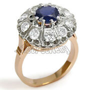14k Solid White And Rose Gold Genuine Sapphire And Diamond Russian Style Ring R1863