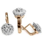 14k Rose And White Gold 2.28 Cwt G-si1 Diamond Ring And Earrings Russian Jewelry Set