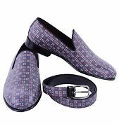 Dolce And Gabbana Gift Set Milano Dauphine Shoes Loafer Slippers Belt Blue 04882