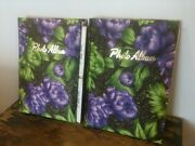 Vtg 60and039s Lot 2 Satin Feel Fabric Covered Photo Albums Floral 48 Photos 96 Total