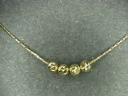 14k Beaded Ball Necklace 14k Solid Gold 19.5 Long Slick Chain ..... Beauty