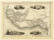 Old Vintage Map Of Western Africa Richly Illustrated Tallis 1851