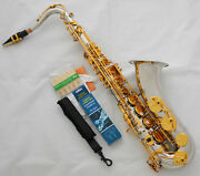 Professional Silver Gold Tenor Saxophone Sax Bb Key High F Italy Pads With Case