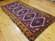 Beautiful Antique 1930-1940and039stent-woven Kurdish Folk-art Wool Pile Rug 4and0391andtimes8and0398