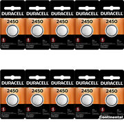 10 Pcs Duracell 2450 Cr2450 Dl2450 3v Lithium Coin Cell Battery