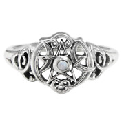 Sterling Silver Heart Wiccan Pentacle Ring - Rainbow Moonstone - Dryad Design