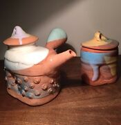 VTG 80s Studio Ceramic POSTMODERN TEA KETTLE + Pot SIGNED ABSTRACT SCULPTURE Pot