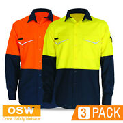 3 X Hi Vis Rip Stop Strong And Light Cotton Vented Work Summer Long Sleeve Shirts