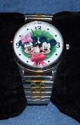 Nib So Cute Rare Mickey Mouse Minnie Mouse Christmas Two Tone Working Watch