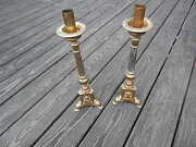 Two Vintage L.f. A Paris Religious Brass Candle Holders International Sale