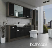 Bathroom Fitted Furniture Black Gloss/mali Wenge A2 2000mm With Wall And Tall - Ba