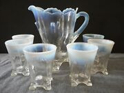 Antique Jefferson Glass French Opalescent Swag With Brackets 7 Pc Water Set